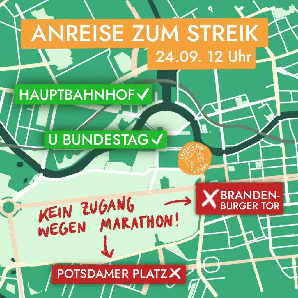 Wenn du freitag zur Demo kommst reise unbeding vom Hauptbahnhof oder U-Bundestag an. Auf der Anderenseite sind Absperrungen durch den Berlin-Marathon!